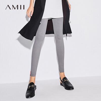 AMII极简chic休闲2018夏装新款黑色刺绣显瘦窄腿小脚铅笔裤