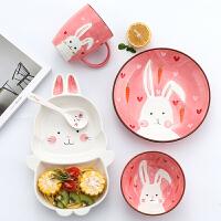儿童餐具套装 可爱卡通动物儿童陶瓷餐盘套装宝宝家用幼儿园吃饭碗分格盘早餐饭盘