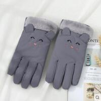 男女小孩秋冬季防水防寒风中童冬天保暖可爱韩版卡通儿童五指手套