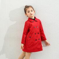 amii童装2017秋新款女童风衣儿童中大童中长款外套英伦翻领大衣