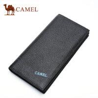 Camel骆驼钱包男士牛皮长款钱夹商务休闲竖款皮夹男青年韩版卡包