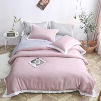【人气】春夏季北欧风简约素色双面天丝四件套冰丝床笠1.8m双人床单被套