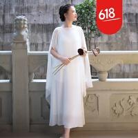 白色茶服禅意仙女气民族风复古雪纺长裙套装禅舞服中国风女装文艺GH27