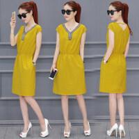 新款女装V领中长款无袖连衣裙  韩版气质修身显瘦纯色包臀裙子长裙女