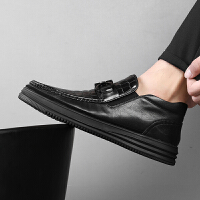 男鞋秋季潮鞋子男韩版潮流英伦百搭商务休闲鞋高帮黑潮男士皮鞋 黑色
