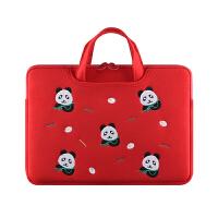 手提电脑包macbook内胆pro苹果air笔记本15.6寸13.3女可爱防震14 红色熊猫-刺绣