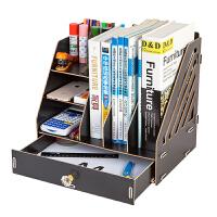 木质文件架资料框收纳盒办公用品文件夹子多层学生用简易桌上书架木制文具办公室抽屉式书立置物架