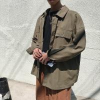 秋季新款港风纯色宽松休闲上衣男士纯色百搭长袖衬衫潮流男寸衫