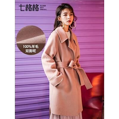 森系毛呢大衣秋装女2018新款流行双面尼韩版加厚中长款呢子外套冬
