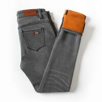 冬季新款烟灰色高腰加绒加厚牛仔裤女小脚韩版保暖带绒外穿长裤潮