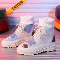 高帮鞋女短靴秋冬季马丁靴女加绒平底学生韩版原宿风ins嘻哈靴子