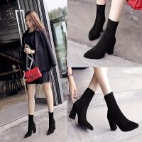 短靴女高跟鞋弹力尖头秋季新款2018中筒粗跟绒面马丁靴黑色女靴子