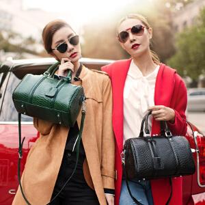 【支持礼品卡】LANVERA 2017新款女包 欧美波士顿真皮单肩手提包包头层牛皮枕头包 L2025