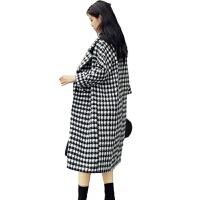2018秋冬新款时尚黑白千鸟格大衣女宽松茧型过膝长款加厚毛呢外套 图片色 X
