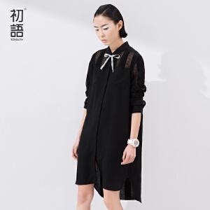 初语夏季新品   衬衫领镂空拼接长袖连衣裙女8622412005M
