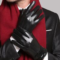 触屏男士手套冬季皮手套男保暖防风防水骑摩托车骑行手套