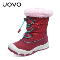 UOVO2017新款儿童雪地靴女童靴子冬季女童短靴中大童保暖雪地靴棉靴时尚潮童鞋 惠斯勒