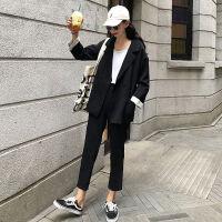 韩版时尚休闲套装女秋冬纯色西装外套高腰九分裤休闲裤两件套学生