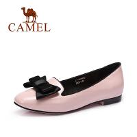 camel骆驼女鞋 春季新款韩版甜美风漆皮浅口蝴蝶结方跟单鞋春鞋