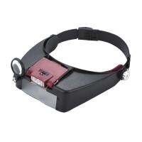 OUJIN 自动升压装置头盔式放大镜 头戴式带2个LED灯照明放大镜 老人阅读 看报放大镜