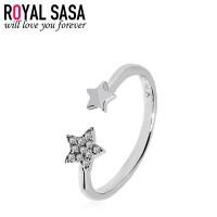 皇家莎莎925银戒指女日韩版简约结婚仿真钻戒指环饰品送女友生日礼物