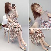 孕妇夏装连衣裙2018新款韩版碎花长款裙子夏季短袖孕妇两件套潮妈 图片色