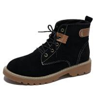新款短靴英伦风圆头高帮马丁靴女皮靴休闲鞋秋冬潮粗跟骑士靴子