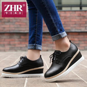 ZHR2017春季新款厚底松糕鞋韩版真皮女鞋坡跟单鞋休闲鞋小白鞋C11
