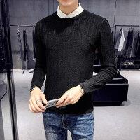 男士毛衣春秋季纯色打底圆领针织衫韩版潮流修身暗条纹套头毛线衫