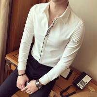 春夏衬衫男长袖修身 韩版 休闲修身款潮流衬衫绣花男士修身型衬衣