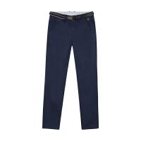 美特斯邦威女装精致腰带装饰斜纹休闲长裤248659