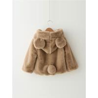 女童外套秋冬 童装秋冬女宝宝毛毛外套连帽儿童长袖外衣