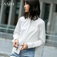 【3折价:120元再叠优惠券】Amii棉衬衫女polo领201春装新款休闲宽松长袖上衣