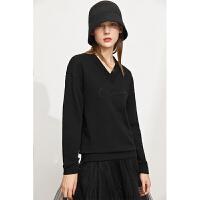 Amii极简设计感小众白色V领卫衣女2021秋装新款印花宽松薄款上衣