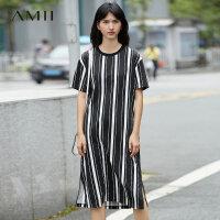 【AMII 超级品牌日】Amii[极简主义]夏装2017新款圆领短袖条纹纯棉T恤连衣裙11733043