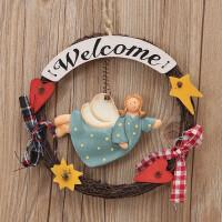 家居墙面天使女孩装饰品挂件 木质欢迎光临挂牌welcome提示牌挂饰