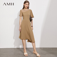 Amii极简小黑裙气质连衣裙2021夏季新款不规则网纱露肩修身裙子女