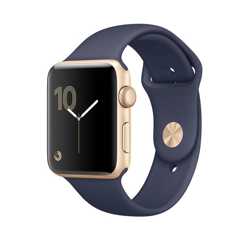 Apple Watch Series 2 智能手表(38毫米金色铝金属表壳 午夜蓝色运动型表带 GPS 50米防水 蓝牙 MQ132CH/A)可使用礼品卡支付 国行正品 全国联保