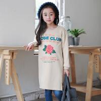 秋季新款童装中长版卫衣时髦花朵长款卫衣不规则中大女童装