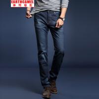 神州骆驼EARTHCAMEL男士春秋薄款牛仔裤 时尚休闲中腰棉质修身弹力牛仔长裤