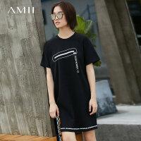 【AMII 超级品牌日】Amii[极简主义]夏装2017新款字母印花挂饰短袖T恤连衣裙11732793
