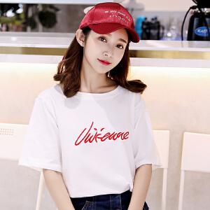 拍韩版少女夏新款学生字母刺绣上衣短袖T恤