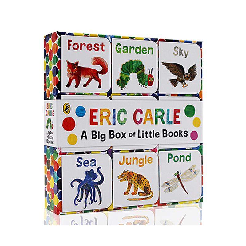 进口英文原版The World of Eric Carle: Big Box of Little Books 9册手掌小纸板书礼盒 卡尔爷爷 封底可玩拼图