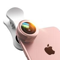【礼品卡】手机镜头广角微距鱼眼三合一单反拍照套装iphone通用外置摄像头iphone7 6plus镜头 玫瑰金