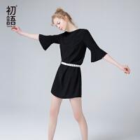 初语夏季新款 七分蝴蝶袖宽松H廓形黑色连衣裙