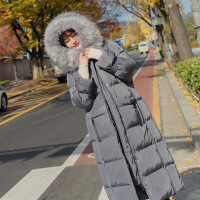 chic羽绒女中长款2018冬季新款韩版加厚大毛领过膝棉衣女外套