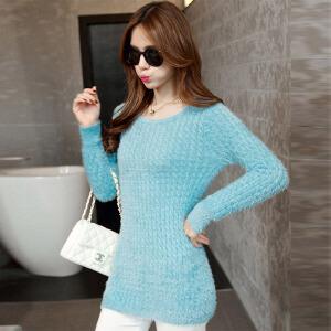 �莱2017年春节新款纯色时尚修身打底针织衫