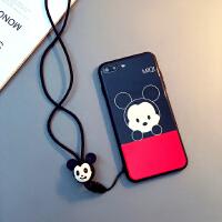 米奇iphoneX手机壳挂绳7plus钢化玻璃苹果8保护套6sp日韩卡通情侣 6/6s 4.7寸(米奇)