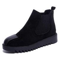 秋冬季chic马丁靴女英伦风加绒磨砂皮短靴女学生韩版平底切尔西靴 黑色 单款 35