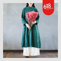春款新原创设计民族风棉麻连衣裙女装袍子中式斜襟盘扣中长款复古GH168 均码